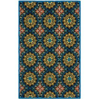 Safavieh FRS426A Four Seasons Collection Indoor/Outdoor Area Rug, 8 by 10 Feet, Black and Blue   Black Hooked Rugs