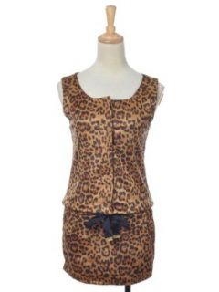 Anna Kaci S/M Fit Brown Leopard Print Button Up Chest Drawstring Casual Dress