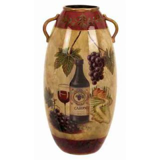 UMA Enterprises Urban Trends Ceramic Vase with Wine Bottle and Grapes