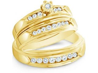 14k Yellow Gold Trio 3 Three Ring Matching Engagement Wedding Ring Band Set   Round Diamonds   Round Shape Center Setting w/ Side Stones (.43 cttw, H Color, I1 Clarity)