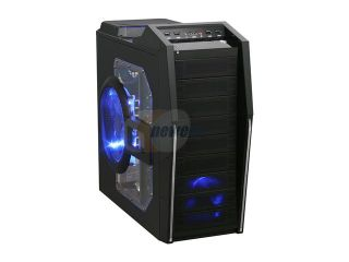 Rosewill CRUISER Black Gaming ATX Mid Tower Computer Case with Side Panel Window, comes with Four Fans 1x Front Blue LED 120mm Fan, 1x Top Blue LED 120mm Fan, 1x Rear 120mm Fan, 1x Side Blue LED 190mm
