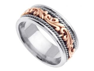 White & Rose Gold Hand Braided Wedding Band Mens Ring