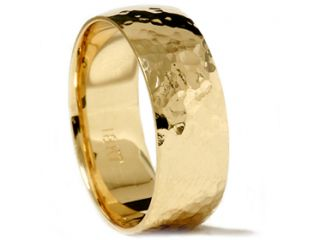 Solid 18K Yellow Gold Polished Hammered 7MM High Quality Mens Wedding Ring Band