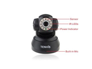TENVIS JPT3815W Wireless Webcam iPhone Android IP Camera Audio Video WiFi Camera OSD IR Motion Detction   12 Meters Night Version