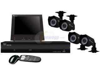 "Night Owl NB4 4S420 8LCD Compact H.264 4 Channel 3G/4G Smart Phone Access DVR (No Hard Drive) with 4 Sony 1/4"" CCD Night Vision Cameras, and 8"" Color LCD Security Monitor"