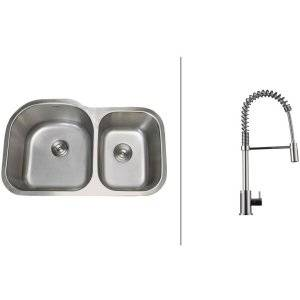 Ruvati RVC2551 Combo Stainless Steel Kitchen Sink and Chrome Faucet Set