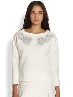 Line & Dot Embroidered Jacquard Dolman Sleeved Top   White