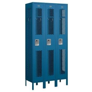 Salsbury Industries 71000 Series 36 in. W x 78 in. H x 15 in. D Single Tier Vented Metal Locker Unassembled in Blue 71365BL U
